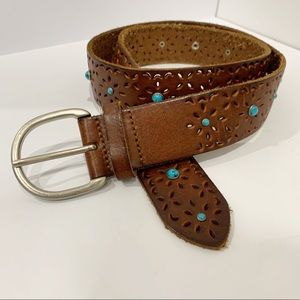Aeropostale leather belt with turquoise Sz medium